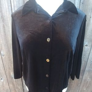 Kathie Lee Collection Velour Top 3/4 Sleeves